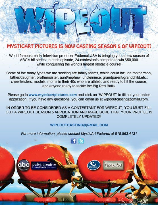 Wipeout 2012 and 2013 casting call